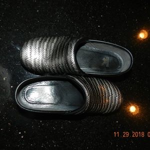 Dansko Black and Silver Patterned Clogs